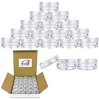 Beauticom Tarros transparentes redondos 3G /3ML con tapas de tapón de rosca para exfoliantes, aceites, pomadas, cremas y lociones - Sin BPA (Cantidad: 50 piezas)