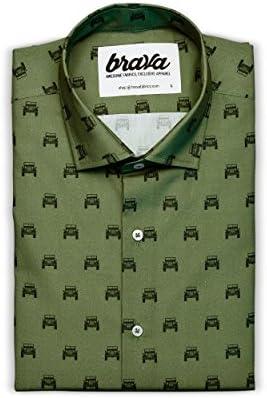Talla Modelo/90/'s Diskettes Camisa Azul para Hombre Brava Fabrics Camisa Hombre Manga Larga Estampada 100/% Algod/ón Camisa Casual Regular Fit