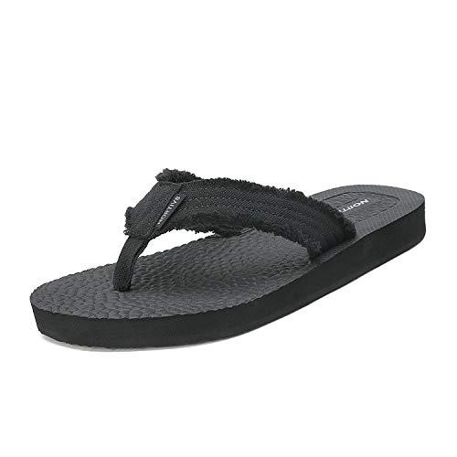 NORTIV 8 Men's 181111M Black Flip Flop Sandals Thong Summer Beach Sandal Size 7 M US ()