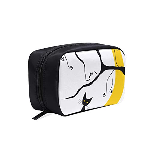 Cat On The Roof At Night Moon Portable Travel Makeup Cosmetic Bags Organizer Multifunction Case Small Toiletry Bags For Women And Men Brushes Case]()
