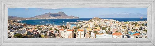 Easy Art Prints Panoramic Images's 'High Angle View of City at The Waterfront, Mindelo, Sao Vicente, Cape Verde' Premium Framed Canvas Art - 40