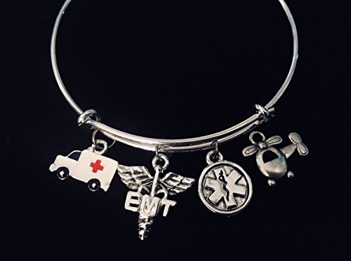 Ambulance Helicopter EMT Medical Jewerly Silver Expandable Charm Bangle Adjustable Bracelet Flight Paramedic Caduceus EMS One Size Fits All Custom Options Available
