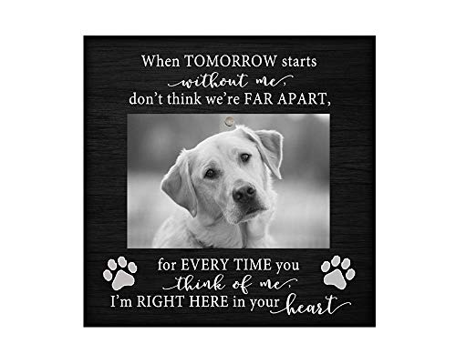 Pet memorial desktop photo plaque (no glass) 8.5x8.5 inch dog picture pet loss gift, sympathy, Black50