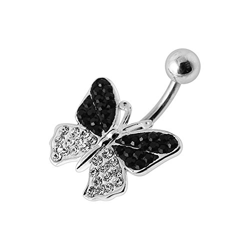 - Black Multi Crystal Stone Butterfly Design 925 Sterling Silver Belly Button Piercing Ring Jewelry