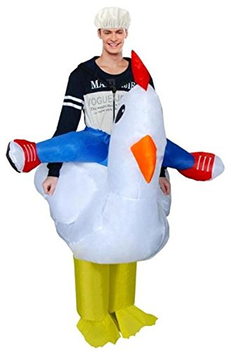 Inflatable Rooster Chicken Cock Chubsuit Blow Up Funny Animal Cosplay Costume (Fits for 1.5M-2M adults, (Adult Rooster Costume)