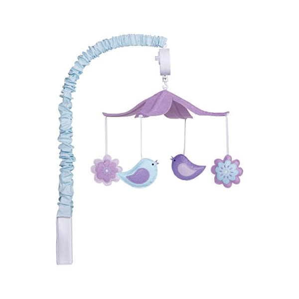 Trend Lab Grace Felt Birds and Flowers Musical Crib Mobile, Purple Flowers Baby Mobile, Forest Animal Nursery Décor