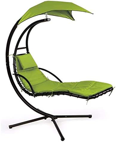 eZone Outdoor Hanging Hammock Chair Lounge Swing, Curved Chaise Lounge Chair Swing for Backyard, Patio and More Green