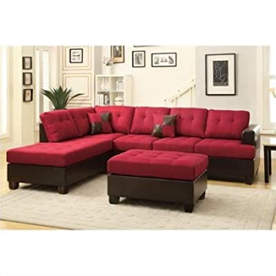 Gracelove Poundex Bobkona Winden 3 Piece Reversible Sectional Sofa in Carmine