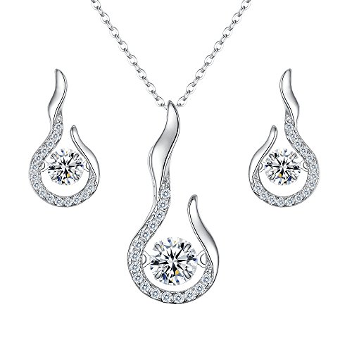 (EVER FAITH 925 Sterling Silver Round CZ Dancing Stone Flower Bud Pendant Necklace Earrings Set Clear)