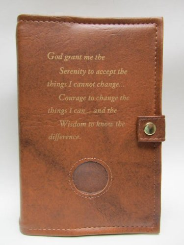 Deluxe Double Alcoholics Anonymous AA Big Book & 12 Steps & 12 Traditions Book Cover Medallion Holder Tan by Culver Enterprises by Culver Enterprises