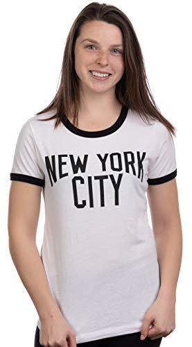 Retro New York City | Iconic NYC Lennon Ringer Vintage Women Girly T-Shirt Top-(Ringer,XL) ()