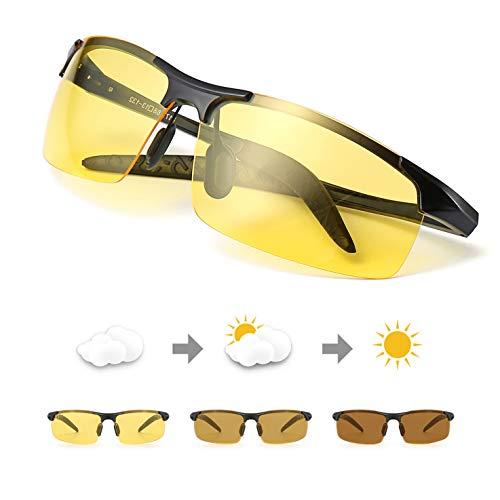 TJUTR Men's Photochromic Night Vision Glasses for Driving, Polarized Lens UV400 for Safe Outdoors, Reduce Eyes Fatigue (Black Frame/Yellow Photochromic Polarized Lens) ()
