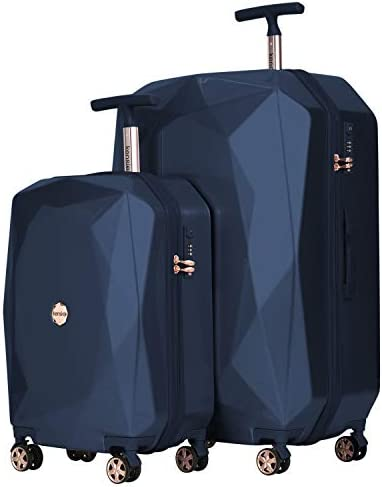 """kensie Women's 2 Piece or 20"""" 3-D Gemstone Luggage Set, Midnight Blue, 2 PC 28"""""""