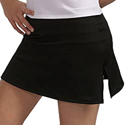 A-Line Tennis Skirt with Shorts and Slits (X-Small, Silver)