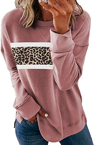 Ecolley Women Sweatshirts Color Block Print Striped Long Sleeve Casual Loose Shirts Cute Crew Neck Tops Blouse