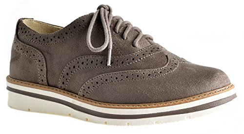 LUSTHAVE Women's Tinsley Lace Up Platform Brogue Trim Oxford Flats Sneakers Loafers Taupe 8.5 -