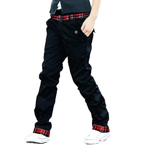 AMBLY チノパン ベルト付き 2点セット パンツ メンズ チェック 綿パン ロールアップ しっかり生地 ボトムス 黒 ベージュ色 春 夏 秋 メンズファッション