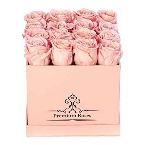 (Premium Roses | Model Pink| Real Roses That Last 365 Days | Fresh Flowers| Roses in a Box (Pink Box, Medium))
