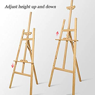 LSJTY Sketch Easel, Sketchpad Set, 4K Sketching Stand Solid Wood Frame Adult Child Painting Gouache Watercolor Painting Board 1.45 Meter Easel