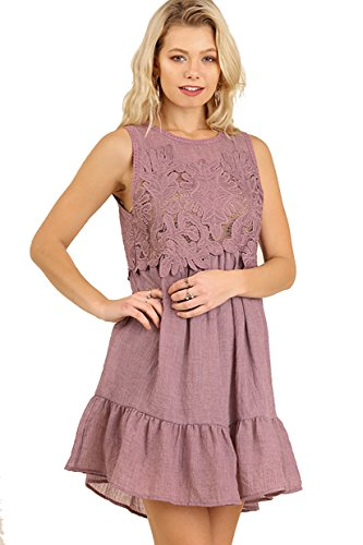 Lovely in Lace! Gauze Dress with Lace Bodice (small, mauve)