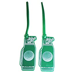 2 Green Golf Luggage Tags - Made in USA