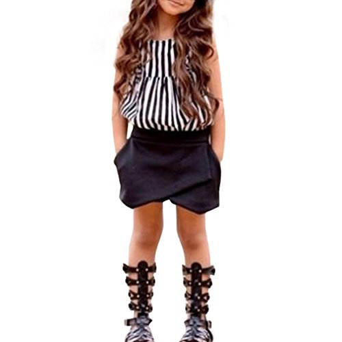 SanCanSn Toddler Clothes Kids Baby Girls Outfit Striped T-Shirt Tops+Shorts Pants Set (5/6T=130, Black)