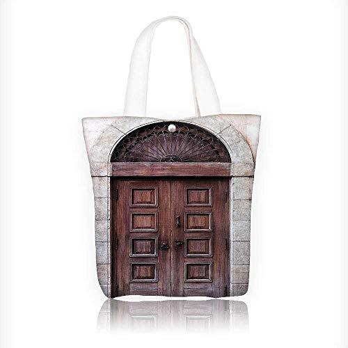 Women's Canvas Tote Handbags Rustic Arched Wooden Venetian Door with Islamic Royal Ottoman Elements Casual Top Handle Bag Crossbody Shoulder Bag Purse W11xH11xD3 INCH
