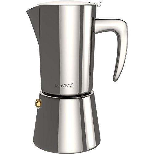 (bonVIVO Intenca Stovetop Espresso Maker, Italian Espresso Coffee Maker, Stainless Steel Espresso Maker Machine For Full Bodied Coffee, Espresso Pot For 5-6 Cups, Moka Pot With Silver Chrome Finish)
