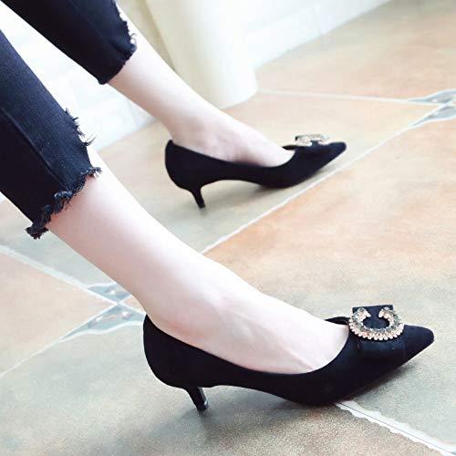 KPHY Damenschuhe/Fliege Mitten Im Schuhe Herbst Wildleder Sagte Ferse Schuhe Im Mode Bohrer Flachen Mund Schöne Schuhe.37 Blau - c6cae4