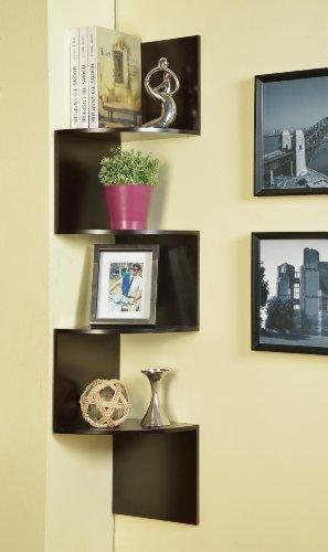 Espresso Hanging - Kings Brand Espresso Finish Corner Zig Zag Hanging Wall Shelf