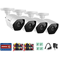 Annke (4) 3MP HD-TVI Security Bullet Camera, 3M CMOS Image Sensor, Indoor/Outdoor IP66 Weatherproof and 66ft Night Vision with Smart IR(Metal, White)