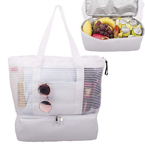 Large Mesh Beach Tote Bag with Zipper and Insulated Picnic Cooler Leak-proof for Beach Pool Outdoor Travel Gym best beach bag