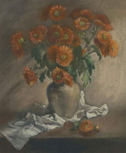 K. Daker - Mid 20th Century Pastel, Still Life of Orange Daisies 20th Century Still Life