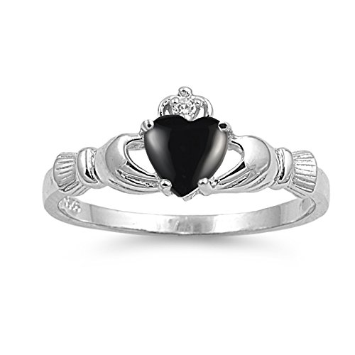 925 Sterling Silver Cabochon Natural Genuine Black Onyx Claddagh Heart Promise Ring Size 12