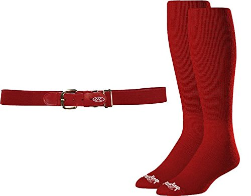 Rawlings BLTSOCKL-RED Baseball Belt & Sock Combo (Adult Large/Red) - Red Combo Belt