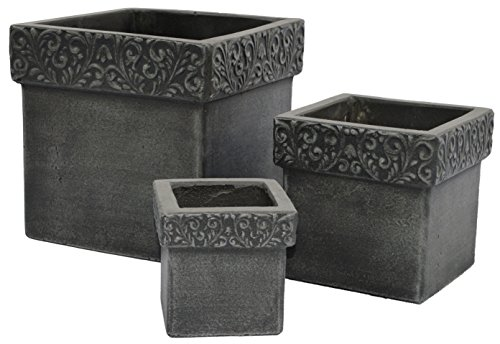 Cubes Lyon Natural Cement Fiber Planter Set, Color: Charcoal