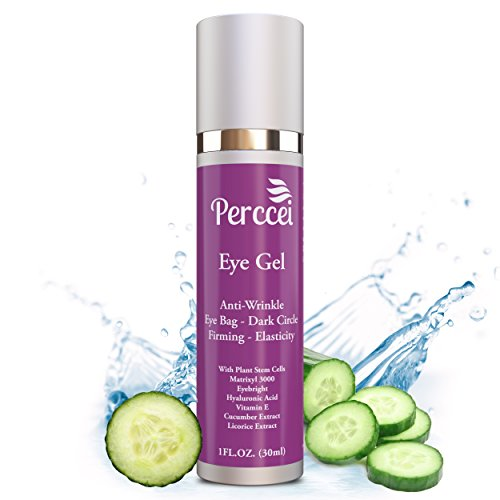 Eye Gel Moisturizer - Reduces Dark Circles/Wrinkles/Puffiness/ -Unique Blend (with Plant Stem Cells, Eyebright, Hyaluronic Acid, Vitamin E, Cucumber Extract, and Licorice Extract) 1. Fl Oz - Perceei (Eyebright Dark Circle)