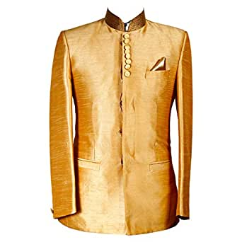 Libas Riyaz Gangji Gold Silk Blazer For Men