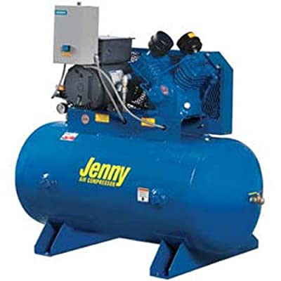 Jenny G5A-60 Single Stage Horizontal Corded Electric Powered Stationary Tank Mounted Air Compressor with G Pump, 60 Gallon Tank, 3 Phase, 5 HP, 460V