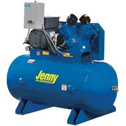 Jenny G5A-60 Single Stage Horizontal Corded Electric Powered Stationary Tank Mounted Air Compressor with G Pump, 60 Gallon Tank, 3 Phase, 5 HP, 230V