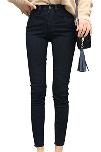 yulinge Las Mujeres De Cintura Alta Pantalones Largos Tobillo Denim Jeans Plus Size Black