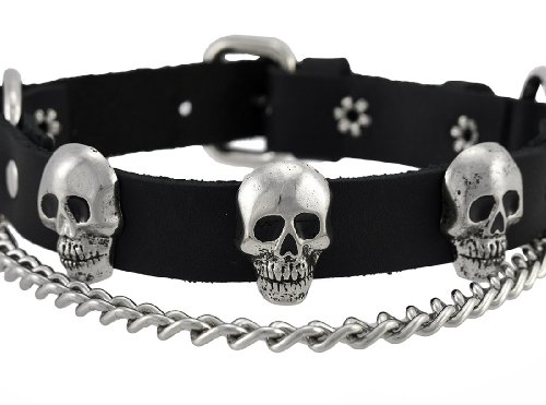 Black Leather Chrome Skull Bootstraps Boot Chains Pair