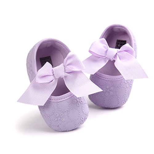 (HsdsBebe Baby Girls Bowknot Cotton Mary Jane Shoes Soft Sole Toddler Fisrt Walkers Infant Princess Crib Flats Birthday Party Gift (6-12 Months, A-Purple))