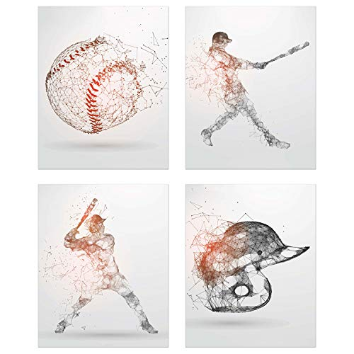 Summit Designs Baseball Geometric Wall Art Prints - Particle Silhouette - Set of 4 (8x10) Poster Photos - Bedroom - Man Cave Decor