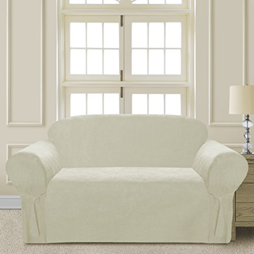 - Comfy Bedding Microsuede Sofa Furniture Slipcover with Elastic Straps under Seat Cushion (Beige, Loveseat)