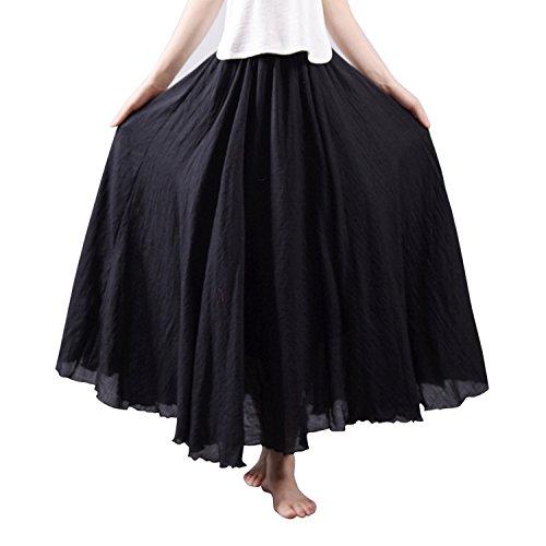 Cotton Linen Casual Fashion Maxi Couleur Noir Uni Startreene Femme Vintage Jupe Longue Taille Elastique Haute zqBnvpPwn