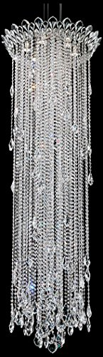 Schonbek TR2413N-401A Swarovski Lighting Trilliane Strands Pendant Light, Stainless Steel