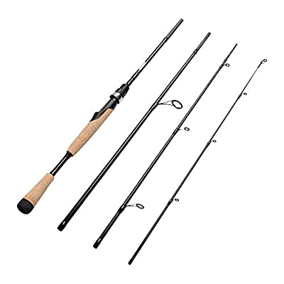 Fiblink 4 Pieces Travel Spinning Rod Medium Graphite Spinning Fishing Rod Portable Fishing Rod by Fiblink