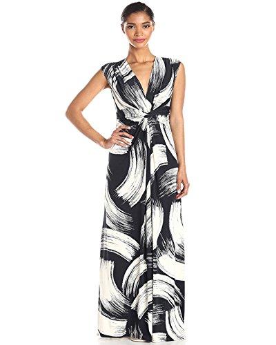 Haute Casual Impression Robe Bohme Aofur femme de Longue en Taille pour Mince Col Manches Robes Sans Femme Plume Maxi Noir V aFT7W6pa