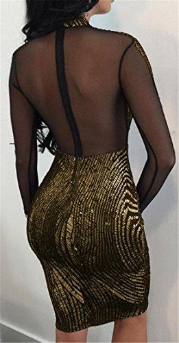 Cromoncent Femmes Sexy Manches Longues Sequinc Transparent Robes Club Noir Moulante